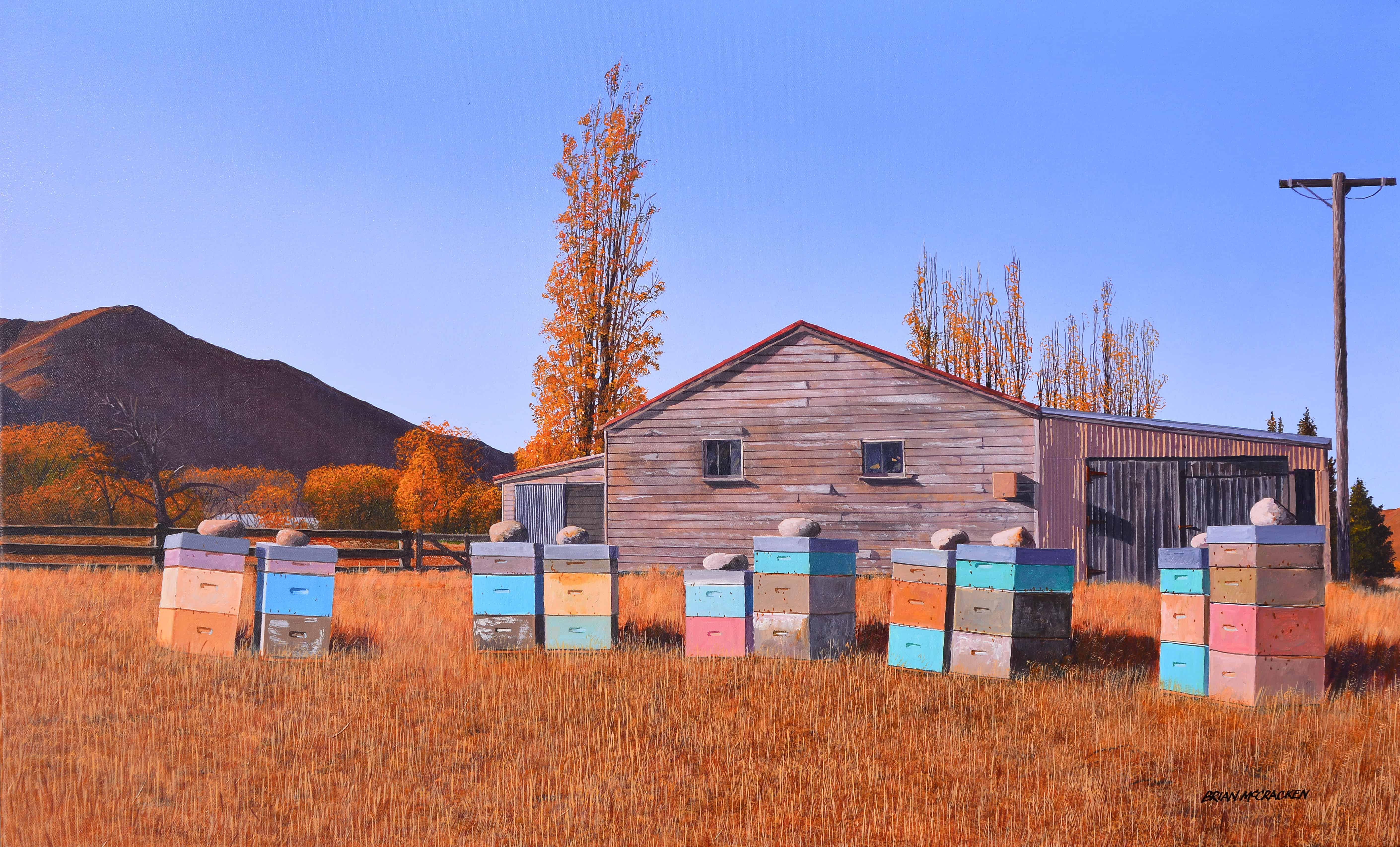 Beehives in Autumn, Omarama web