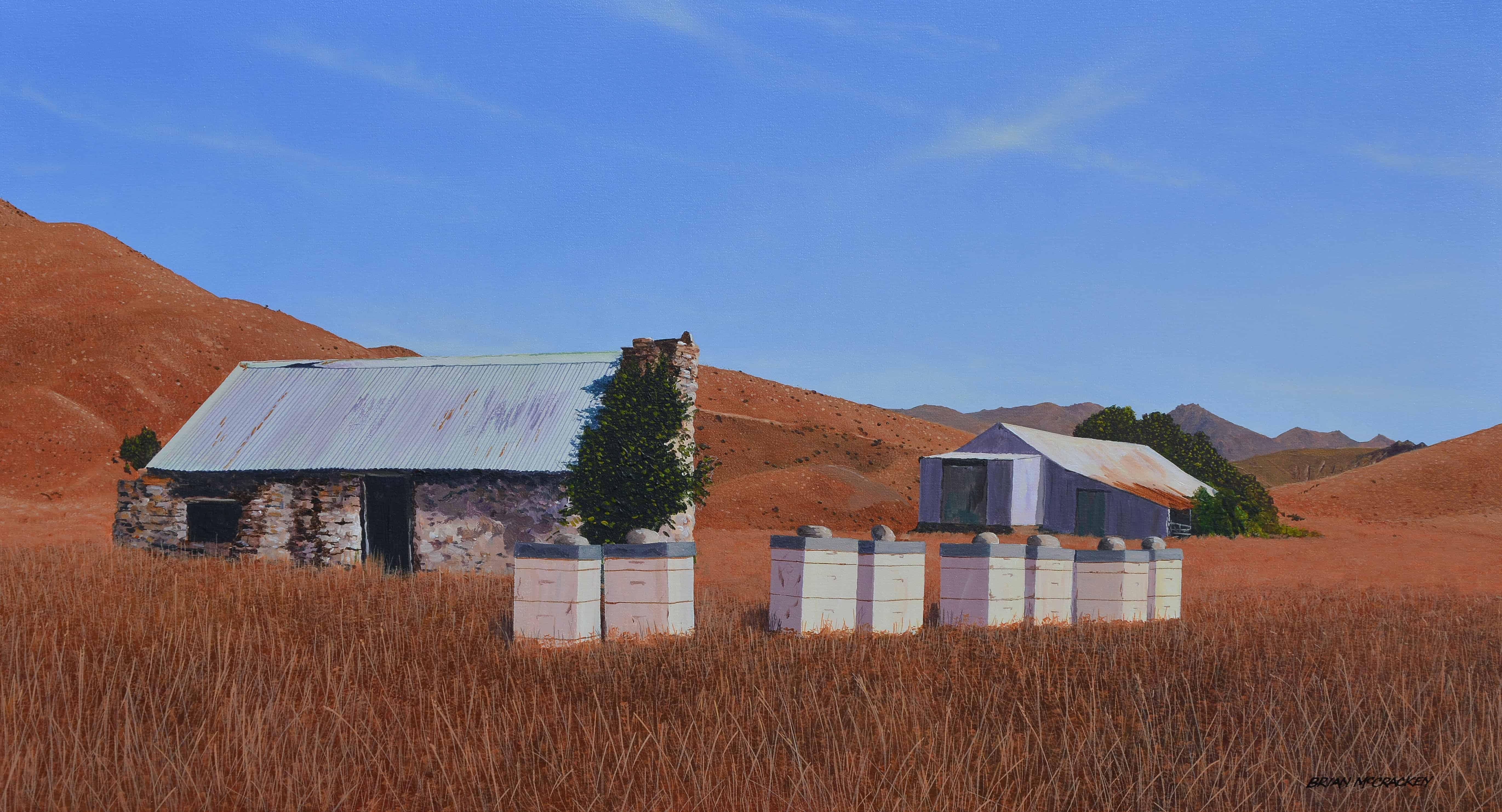 Beehives in Summer Landscape - Otago web